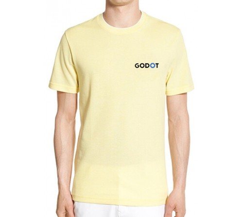 Embroidered Blended Fabric Round Neck T Shirt Light Yellow